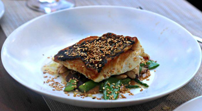 Sautéed Black Sea Bass, Shitake Mushrooms, Fiddlehead Ferns, Sesame Vinaigrette - $34