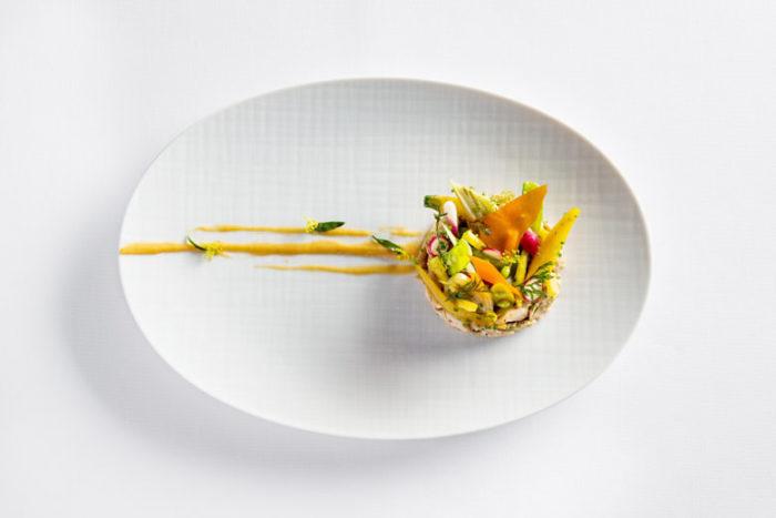 Roasted Rabbit with carrots, herbs and peach - mandarinoriental.com
