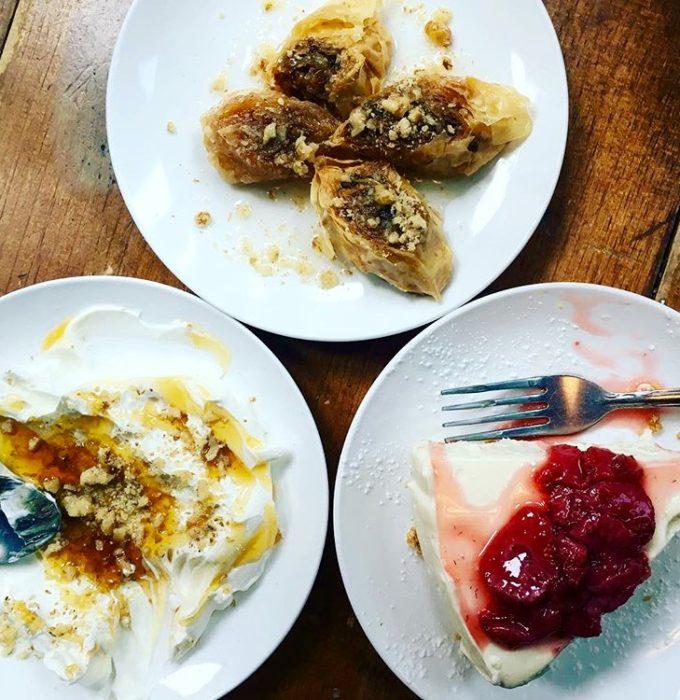 Kiki's Perfect dessert trifecta: Greek yogurt, baklava, cheese cake