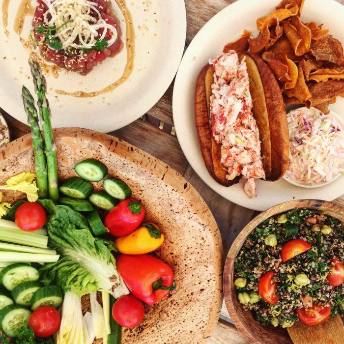 Duryea's Crudités Platter, Lobster Roll, Quinoa Salad, Tuna Crudo