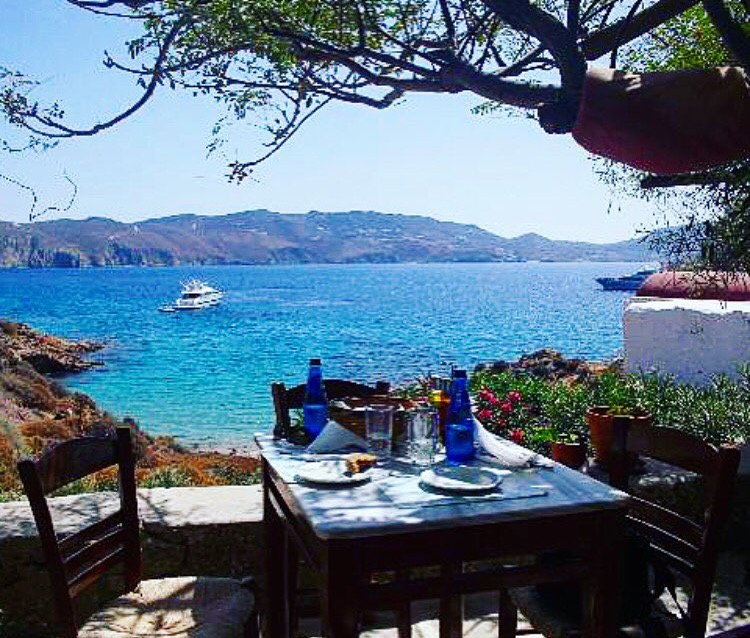 Lunch table with gorgeous seaside view