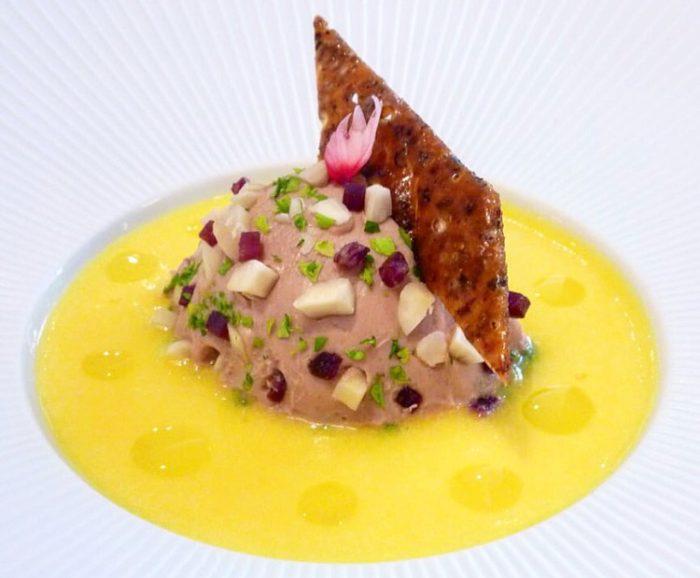 Gabriel Kreuther Foie gras terrine with porcini preserves, duck prosciutto, butternut squash