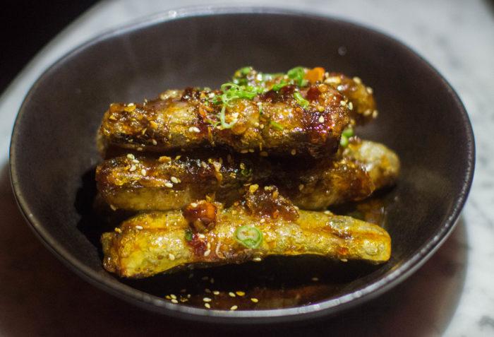Chinese Tuxedo Crispy Eggplant, Sichuan and Peanut Caramel ($14)